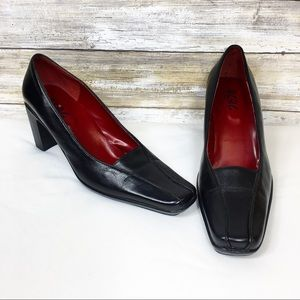 Vintage 90's BCBG Square Toe Chunky Heel Loafers